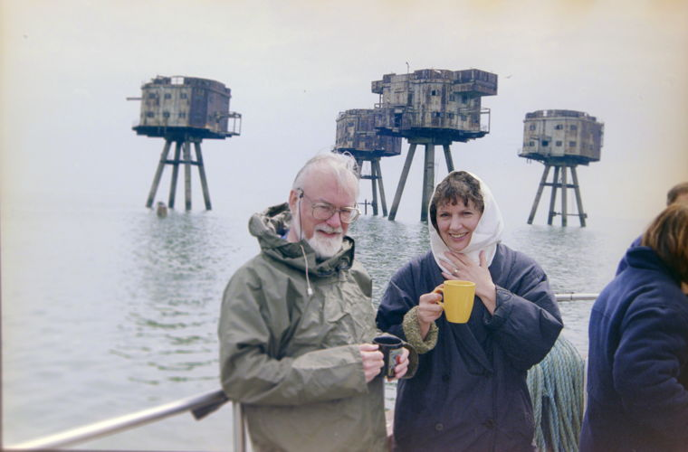 John and Monica McCabe visiting the Maunsell Forts. Photo © Gary Smith